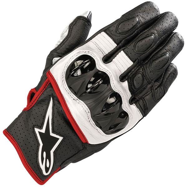 alpinestars celer v2 leather gloves black white fluo red short cuff motorcycle glove - The Best Short Motorcycle Gloves