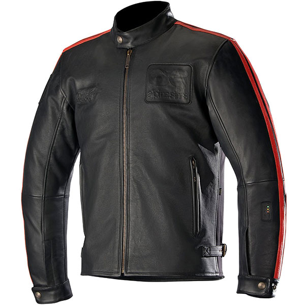 alpinestars leather jacket charlie tech air compatible black red motorcycle - Retro Motorcycle Jackets for Every Budget