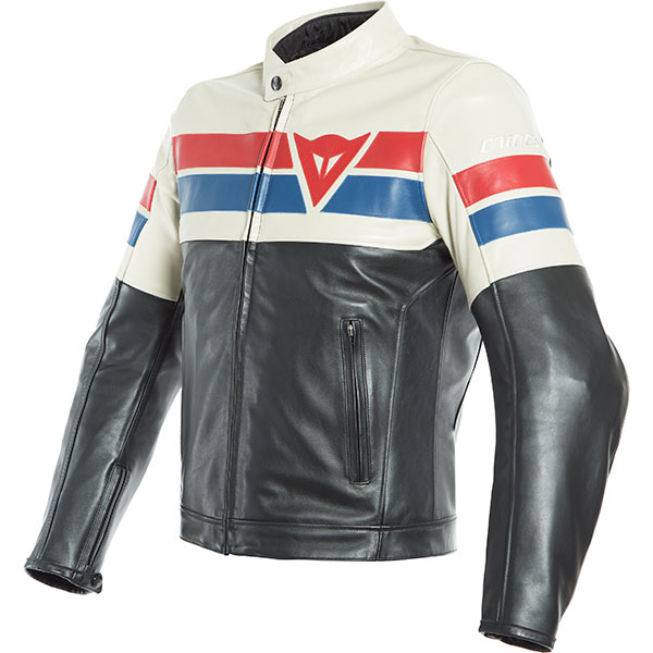 dainese jackets leather 8 track black ice red motorbike - Retro Motorcycle Jackets for Every Budget