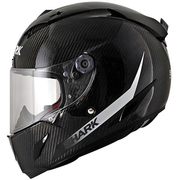 shark race r pro carbon fibre skin dark white black - The Best Carbon Fibre Motorcycle Helmets