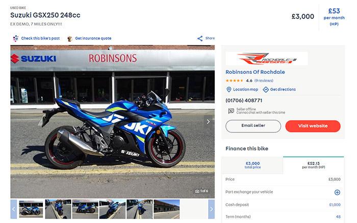 suzuki gsx250r - The Best Motorcycles Under £3000