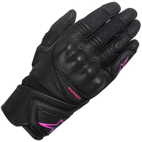 alpinestars ladies gloves leather stella baika black fuchsia summer - Women's Motorcycle Gloves