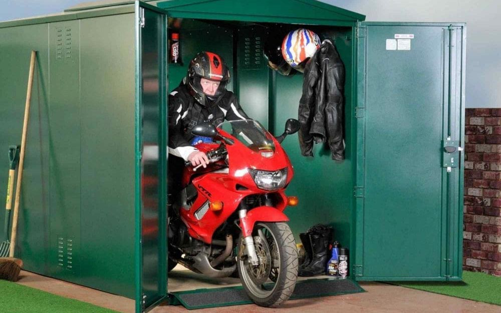 asgard centurion motorcycle secure garage metal shed - The Best Motorcycle Sheds
