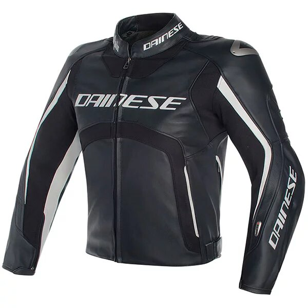 dainese leather jacket d air misano black black white - Motorcycle Airbag Options